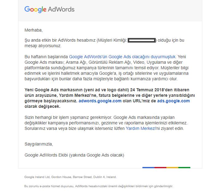 Google AdWords Google Ads Olarak Değişiyor